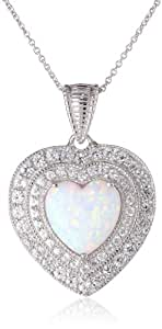"""Sterling Silver Heart shape Simulated Opal Round Created White Sapphire Heart Pendant Necklace, 18"""""""