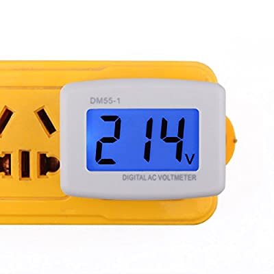 DROK Flat Plug AC 80-300V Voltage Panel Power Line Volt Test Monitor Gauge Meter AC 110V 220V Digital LCD Voltmeter