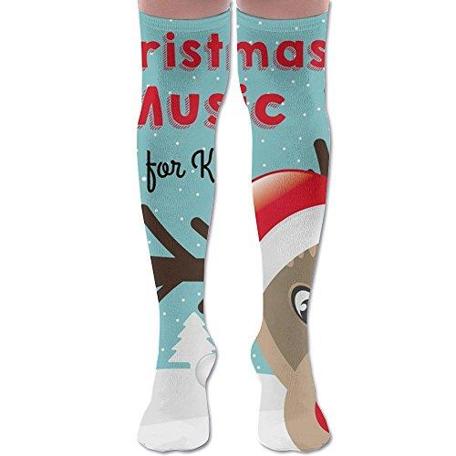 Christmas Music For Kids Over Knee High Socks Sports Athletic Casual Tube (Stations 2017 Music Christmas Radio)
