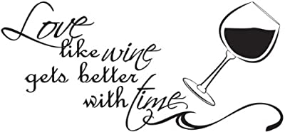 Love like Wine Gets Better with time Couples Vinyl Wall Decal Quotes Wall Stickers Love Decals Home Decor Decals