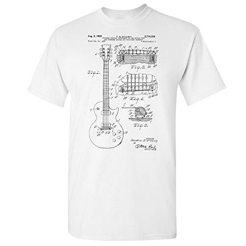 Gibson Les Paul McCarty Guitar Patent T-Shirt, Guitarist Gift, Music Studio, Classic Rock, Musician Gift, Guitar Player White (Large)