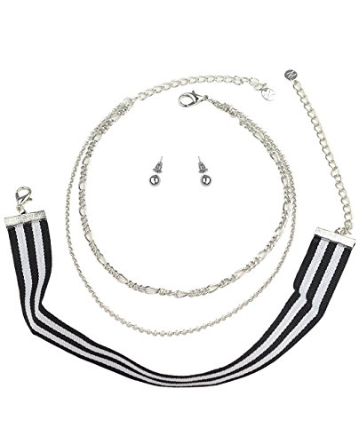 Women's Stripe Choker Double Link Chain Necklace and Ball Stud Earring Set, Silver-Tone Stripe Chain Link