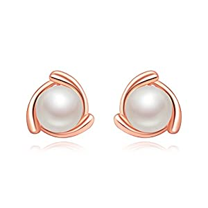 KEETEEN Cute Clover 925 Sterling Silver Pearl Earrings 7-8mm AAA Freshwater Pearl Ear Studs
