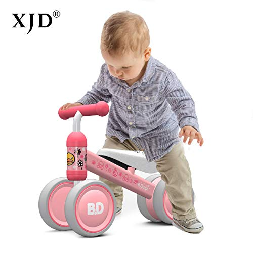 XJD Baby Balance Bikes Bicycle Children Walker Toddler Bike 10-24 Months Toys for 1 Year Old No Pedal Infant 4 Wheels First Birthday Gift Bike (Pink Duck)