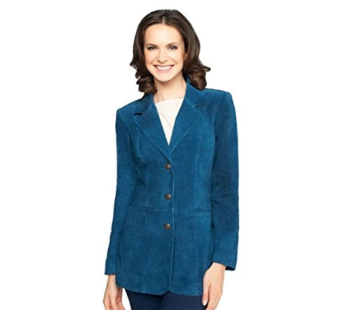 Denim & Co Washable Suede Button Jacket Pockets Mallard Blue XXS New A226384 (Washable Suede Button)