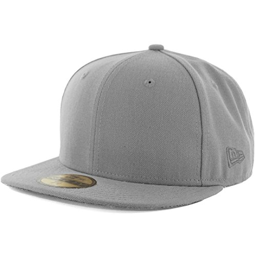 New Era Plain Tonal 59Fifty Fitted Hat (Grey) Men's Blank Cap