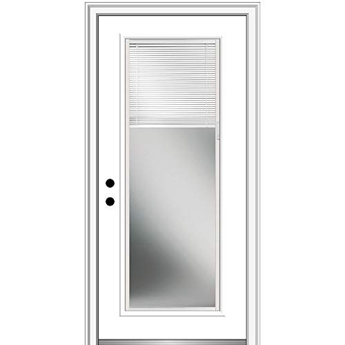 National Door Company EFS686BLFS26R Fiberglass Smooth Primed, Right Hand In-Swing, Prehung Front Door, Full Lite, Clear Glass with RLB, 30