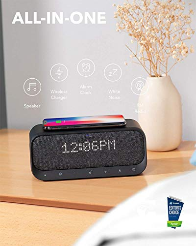 Bluetooth Speaker, Soundcore Wakey Powered by Anker, Alarm Clock, Stereo Sound, FM Radio, White Noise, Qi Wireless Charger with 7.5W Charging for iPhone and 10W for Samsung, Black (Renewed)
