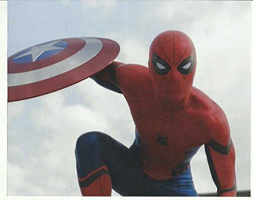 001 Tom Holland as Spider-man holding Cap's Shield – Captain America: Civil War 8 x 10 inches Promo Photo