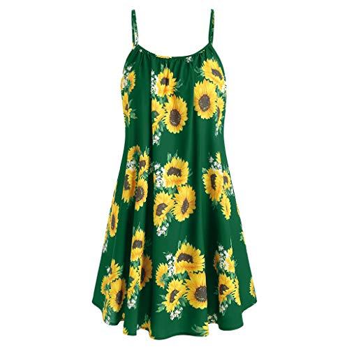 CCatyam Dresses for Women Casual Summer Sleeveless Sling Sunflower Printed Strap Mini Draped Dress Green ()