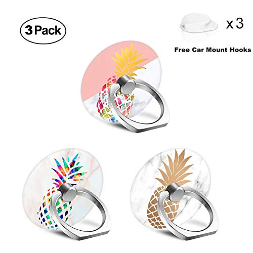 Phone Ring Holder Stand, 3 Pack Universal 360 Rotation Smartphone Finger Ring Grip Stand with 3 Car Mount Hooks for iPhone X 8 7 Plus 6S Samsung Galaxy S8 S9 Plus, Smartphones and Tablets - Pineapple