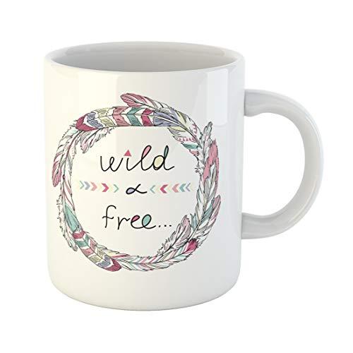 Semtomn Funny Coffee Mug Colorful Hippie Tribal Feathers Boho Summer Saying Aztec Inspiration 11 Oz Ceramic Coffee Mugs Tea Cup Best Gift Or Souvenir