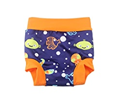 BabyPreg Baby Kids Swim Nappies Cover Diaper Pants High-Waisted Belly Protection Swimming Shorts Navy Stripe, M// 0-2 Years