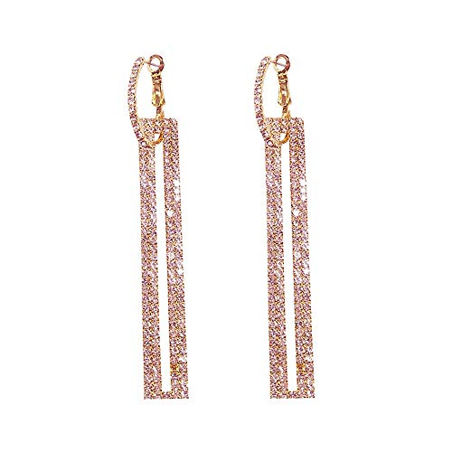 Long Earrings Rectangle - QJLE Geometric Rectangle Long Dangle Earrings for women (Rose Gold)