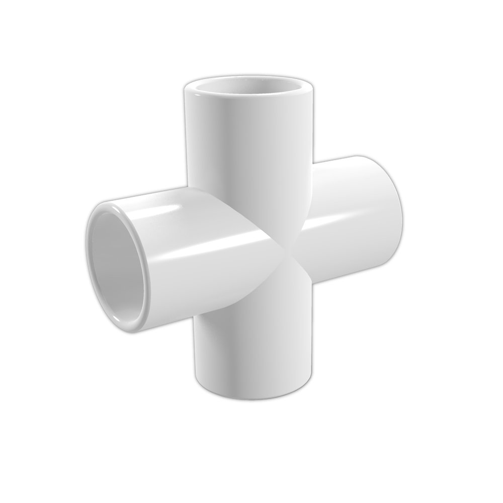 FORMUFIT F112CRX-WH-4 Cross PVC Fitting, Furniture Grade, 1-1/2'' Size, White (Pack of 4)