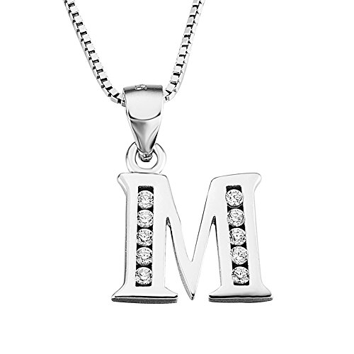 YFN Initial M Pendant Necklace in Sterling Silver with Cubic Zirconial 26 Letter Alphabet Jewelry for Women Teen ()