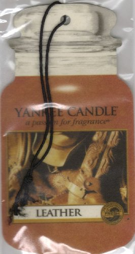 Yankee Candle Classic Paper Car Jar Hanging Odor Neutralizing Air Freshener, Leather Scent - 3 Pack