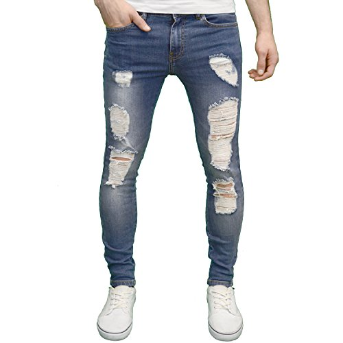 Enzo Mens Designer Branded Stretch Super Skinny Fit Distressed Ripped Jeans (34W x 32L, Mid Stonewash)
