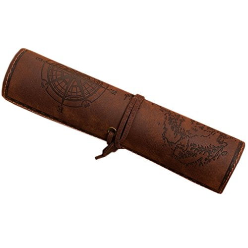 Retro Pencil Roll Case Pirate Treasure Map Pattern Pen Pouch Nubuck Leather Pencil Roll Makeup Cosmetic Holder Carrier for Men/Women Gift BD05