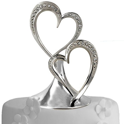 All Things Weddings Wedding Accessories Sparkling Love Double Heart Silver-Plated Cake Top, 5-1/2-Inches Tall