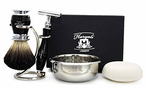 5 Pieces Shaving Set in Black( Black Badger Hair Brush, 3 Different Type of Razor to Choose, Brush & Razor Holder & Shaving Soap)Blades not Included. Perfect As a Gift (De Safety Razor) by Haryali London