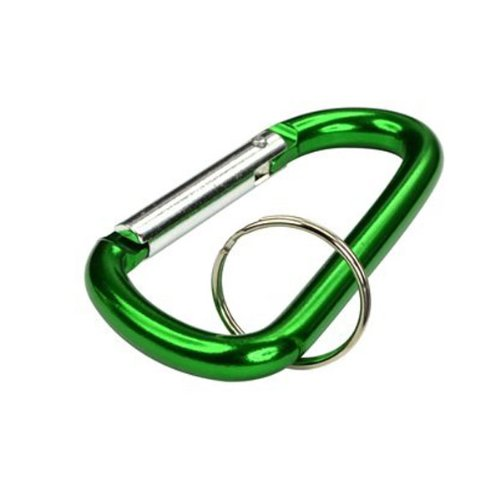 Foxnovo 12pcs D-shaped Aluminum Carabiners Clip Snap Links Snap Hooks with Key Rings (Assorted Color)