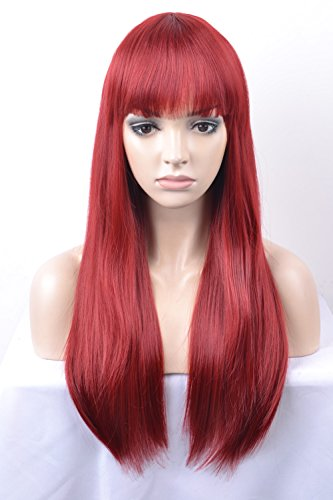 DAOTS Wig 24-Inch Straight Cosplay Synthetic Wig for Women (Wine Red) ()