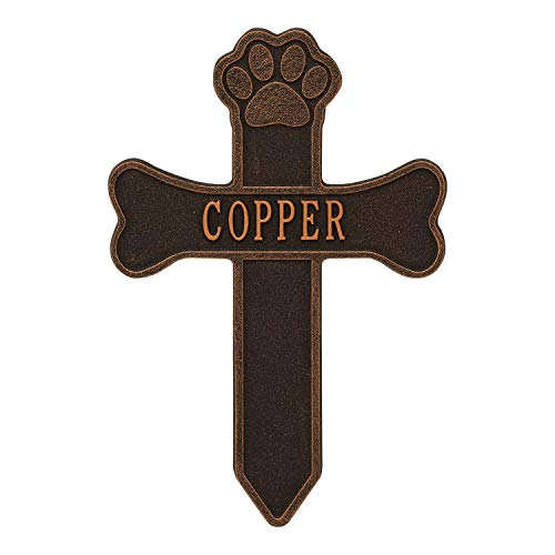 Whitehall Dog Paw and Bone Personalized Pet Memorial Cross Yard Sign - Remembrance Grave Marker and Garden Stake - Oil Bronze ()