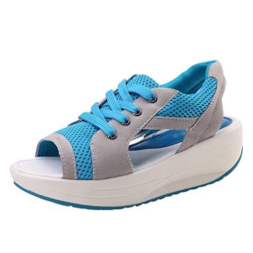 LINNUO Sandalias Plataforma Zapatos con Malla Mujer Peep Toe Sneaker Cuña Casual Zapatillas de Deporte Mocasines Wedge Azul