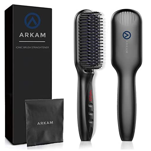 arkam beard straightener brush for men - premium hair straightening brush and beard brush, ionic hair styling comb for men and women, electric heat brush for home or travel, perfect mens gift - 41ce 2B7TkeHL - Arkam Beard Straightener for Men, Ionic Beard Straightening Comb with Anti-Scald Feature, Heated Hair Straightener for Men & Women, Portable Beard Brush Straightener Digital Display for Home & Travel