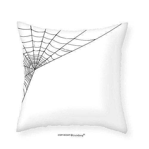 VROSELV Custom Cotton Linen Pillowcase Modern Spider Web Icon Background Form Halloween Scary Evil Themed Illustration for Bedroom Living Room Dorm Black White 20