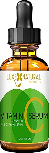 Luxe Natural Products Vitamin C Serum, Anti-Aging Vegan Formula with Hyaluronic Acid, 2 fl. oz. / 60ml