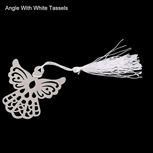 (bromrefulgenc Fashion Snowflake Butterfly Stainless Steel Tassel Bookmark Wedding Favor Gift Angle with White Tassels)