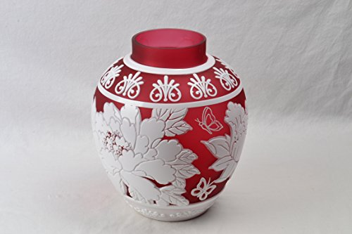 (Cameo Ginger Jar/Vase Cranberry Nectar 3 Color White Cranberry Crystal (CC10044) Chris Carpenter)