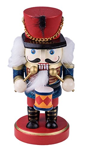 "Classic Chubby Drummer Nutcracker by Clever Creations | Red and Blue Uniform with Snare Drum | Festive Collectible Nutcracker | Perfect for Any Decor Theme | 100% Wood | 6.25"" (Drummer Nutcracker)"