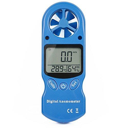 Ehdis® Anemómetro digital 3 en 1 portátil LCD Velocidad del viento Temperatura Humedad medidor con higrómetro Termómetro...