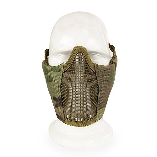 Costumes Skyrim Halloween (Tactical Airsoft Mask ,YASHALY Adjustable Outdoor Strike Camouflage Protective Metal Mesh Half Face Mask For CS/Hunting/Paintball/Shooting (MA-42-06,)