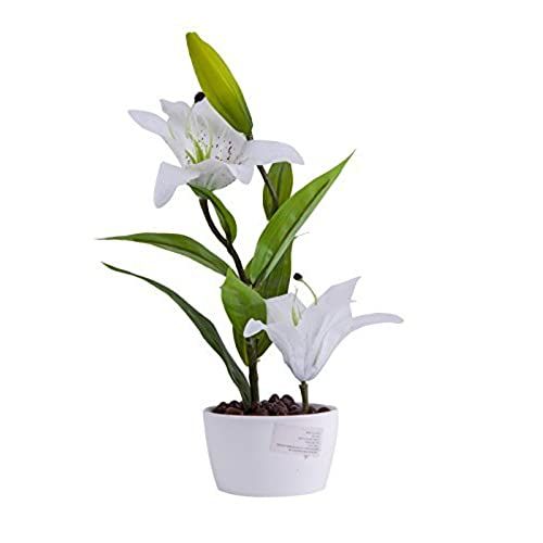 Artificial flowers with vase for home decor amazon louho artificial flower arrangements lily with vase home tabletop decor bonsai white mightylinksfo