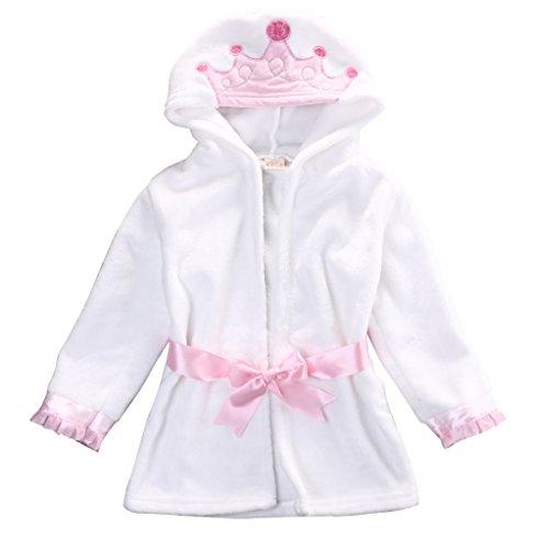 Baby Coral Fleece - Baby Coral Fleece Bathrobe Toddler Kids Hooded Terry Robe Cartoon Animal Pajamas Sleepwear Bath Wrap -Glosun (5T, Pink Crown)
