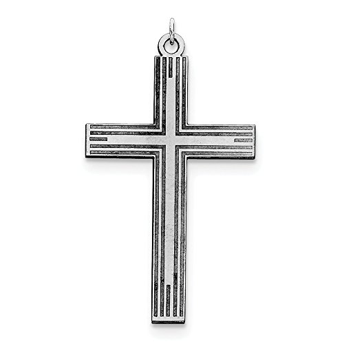 Sterling Silver Solid Polished Engravable Laser Etched Laser Designed Cross Pendant