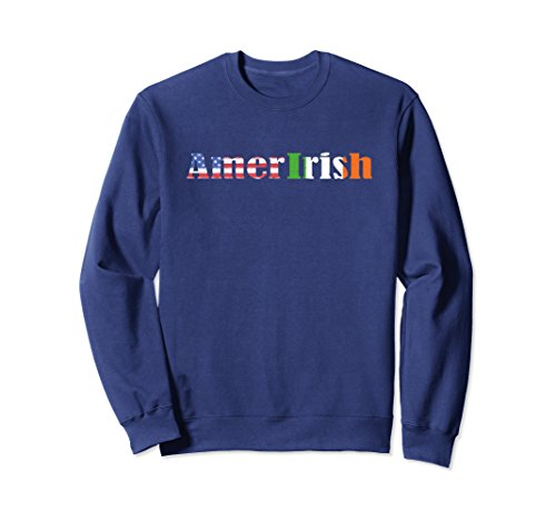 Unisex Proud Irish American Flag Amer Irish Sweatshirt Small Navy ()