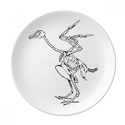 Skeleton Ostrich Decoration Pattern Dessert Plate Decorative Porcelain 8 inch Dinner Home