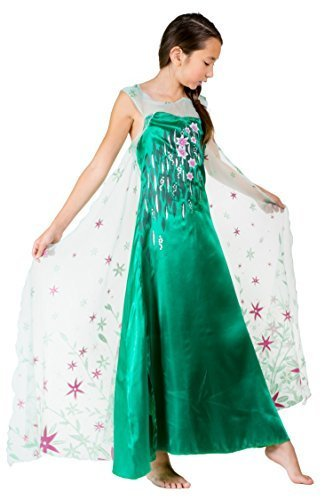 Elsa Coronation Disney Dress Frozen (HBB Girl Snow Princess Elsa Dress Costume with Long Glittering Flower Cape, SZ 5/6 Green)