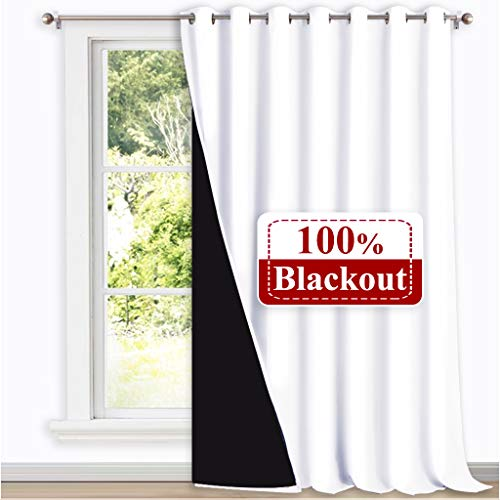 NICETOWN Full Shading Curtain for Patio Door, Super Heavy-Duty Thermal Backing Sliding Glass Door Drape, Privacy Assured Window Treatment(1 Panel, 100 inches W x 108 inches L, Pure White) (Curtains And Window Treatments For Sliding Glass Doors)