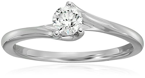 Twist Shank Round Solitaire Diamond 14k White Gold Engagement Ring (1/3carat, I-J Color, 12-13 clarity), Size - Twist Ring Shank