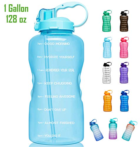 Giotto Large Gallon Motivational Water Bottle with Time Marker & Straw, Leakproof Tritan BPA Free, Ensure You Drink Enough Water Daily for Fitness, Gym and Outdoor Sports-Light Blue