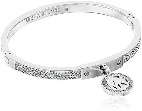 Michael Kors Silver Tone Fulton Hinge Bangle Bracelet Crystal Hinge Bangle Bracelet