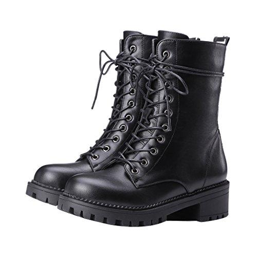 ENMAYER Mujeres Bequeme Schnürung Einfache Abnutzung Bequeme Schuhe Negro