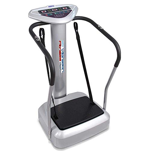 Upgraded Standing Vibration Platform Machine – Full Body Fitness Exercise Trainer, Crazy Fit Massager w 3 LED Screen, 2 Resistance Bands, BMI Sensor, and Adjustable Speed Level – Hurtle