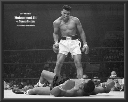 muhammad ali vs sonny liston sports poster print 24x36 wood framed poster art - Muhammad Ali Framed Pictures